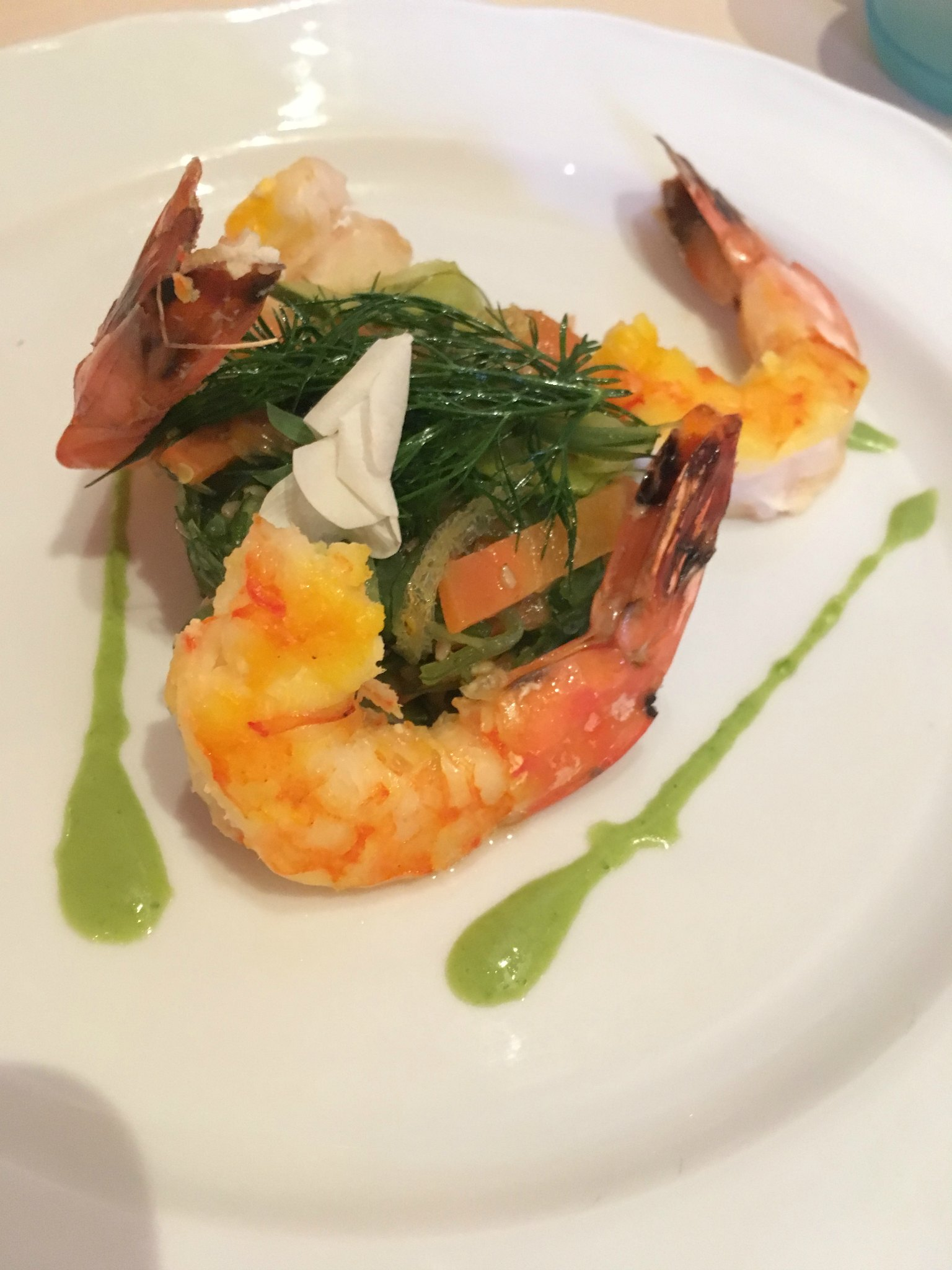 Prawn starter at Auberge de Cendrillon Disneyland Paris