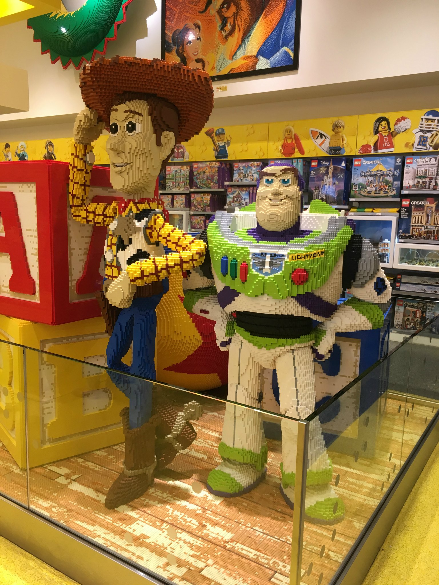 Toy Story characters at the Lego store at Disneyland Paris
