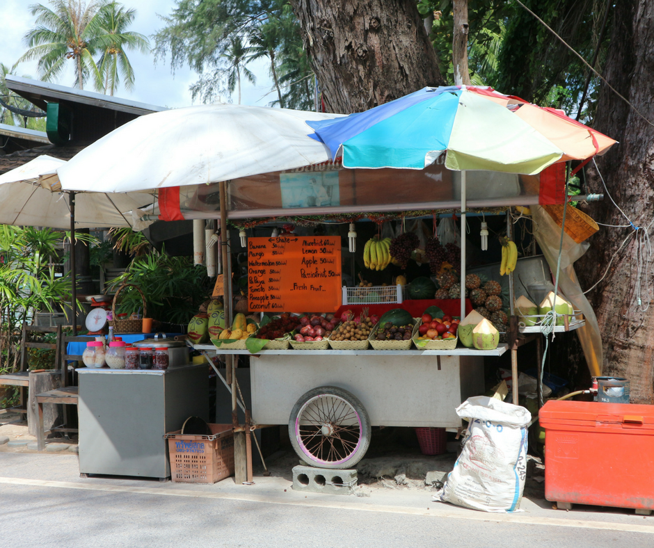 Fruit and drinks stall at Nai Yang Beach