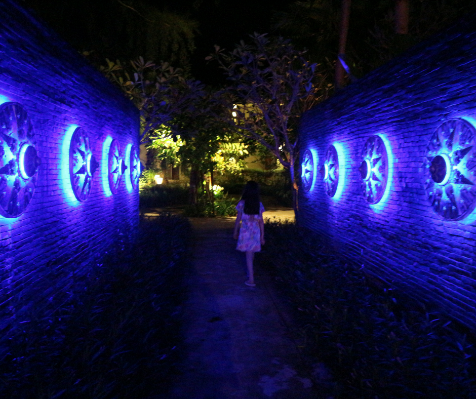 The beautifully lit entrance to Black Ginger restaurant